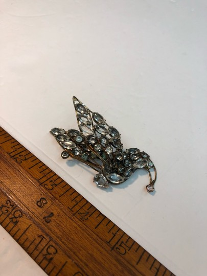 Vogue Vintage Early Vogue Sterling Glass Rhinestone Dress Fur clip Image 6