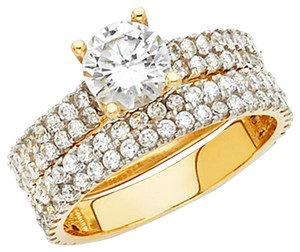 Top Gold & Diamond Jewelry 1-CT Round-Cut & 4-Row Two Tone Fisthtail CZ Engagement Ring in 14K