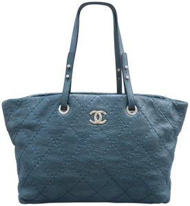 0d5ca934b47 Chanel On The Road Calfskin Tote in Blue-green