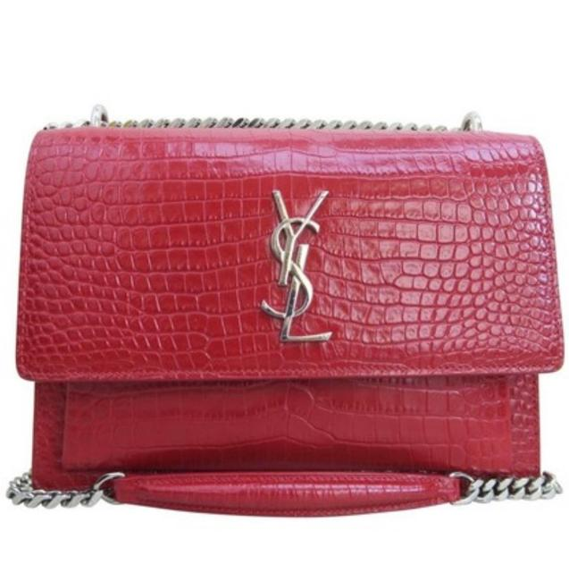 Saint Laurent Sunset Ysl Medium Red Calfskin Leather Cross Body Bag Saint Laurent Sunset Ysl Medium Red Calfskin Leather Cross Body Bag Image 1