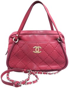 Chanel Calfskin Quilted Satchel in Purplish Red