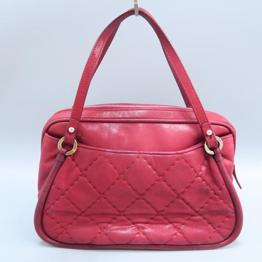 Chanel Calfskin Quilted Satchel in Purplish Red Image 1