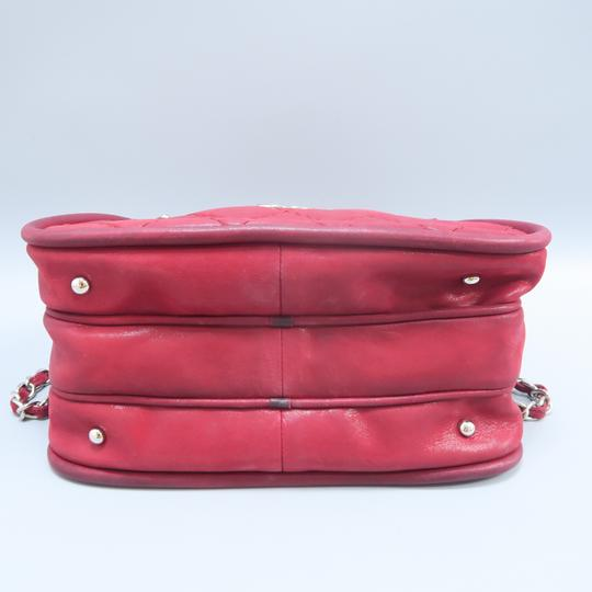 Chanel Calfskin Quilted Satchel in Purplish Red Image 2