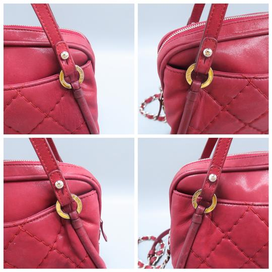 Chanel Calfskin Quilted Satchel in Purplish Red Image 6