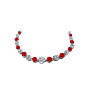 Marco B Ruby and CZ Graduated Necklace in 925 Sterling Silver