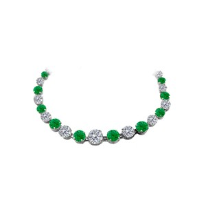 Marco B Emerald CZ Graduated Necklace in 925 Sterling Silver