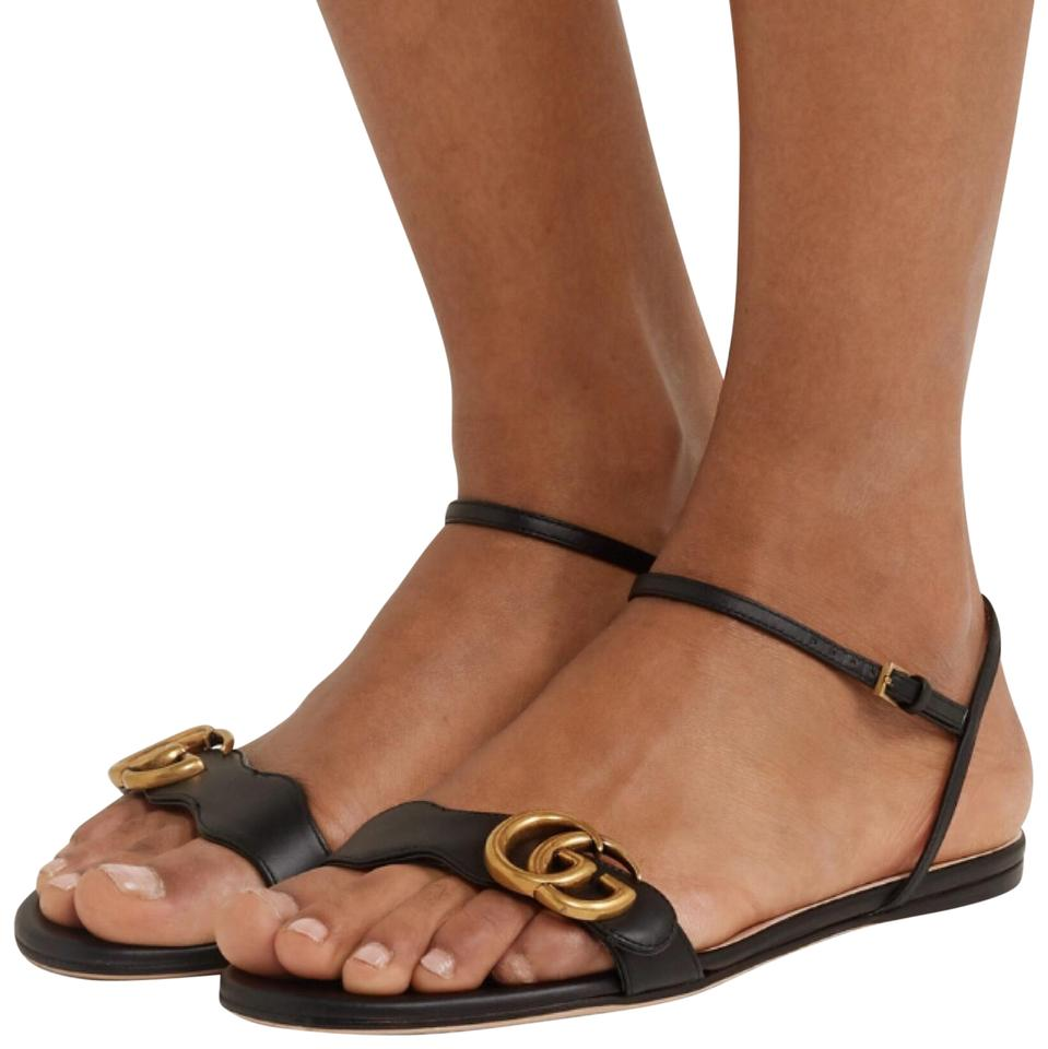 f1697066fc6d Gucci Marmont Logo Embellished Leather Sandals Size EU 40 (Approx ...