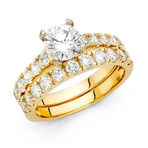 Top Gold & Diamond Jewelry 1-CT Round-Cut & Fishtail Side CZ Engagement Ring Set in 14K Yellow