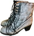 Jeffrey Campbell Leather Combat Lace Up Embellished Rare Grey and Black Boots Image 0