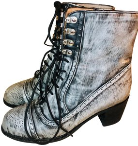 Jeffrey Campbell Leather Combat Lace Up Embellished Rare Grey and Black Boots