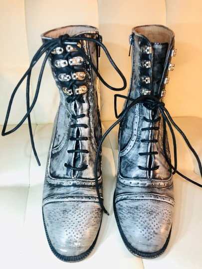 Jeffrey Campbell Leather Combat Lace Up Embellished Rare Grey and Black Boots Image 1