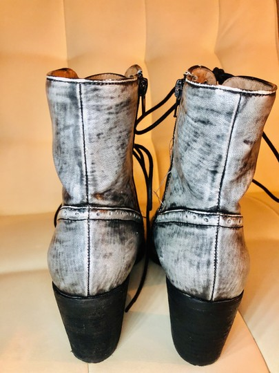 Jeffrey Campbell Leather Combat Lace Up Embellished Rare Grey and Black Boots Image 2