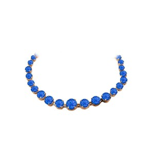 Marco B Sapphire Graduated Necklace in 14K Rose Gold Vermeil