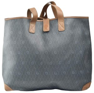 Dior Mint Vintage Rare Print/Style Early Style Xl Bag/Shopper Tote in brown 'honeycomb' print on greyish green coated canvas and camel leather