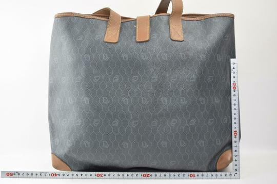 Dior Mint Vintage Rare Print/Style Early Style Xl Bag/Shopper Tote in brown 'honeycomb' print on greyish green coated canvas and camel leather Image 5