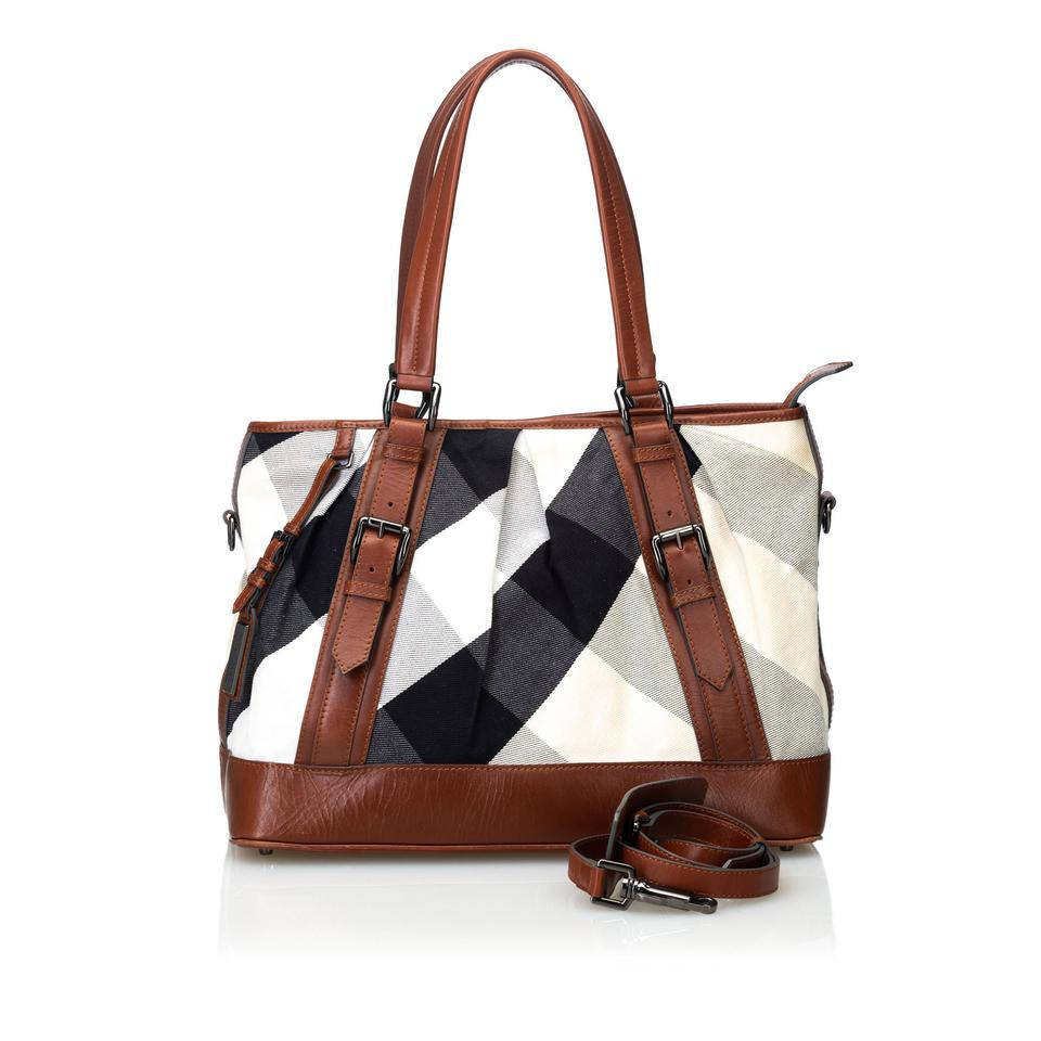 1ddfc9791 Burberry 9cbuto016 Vintage Canvas Leather Satchel in White Image 0 ...