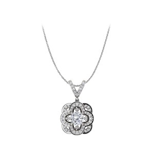 Marco B Round Cubic Zirconia Accented 14K White Gold Pendant