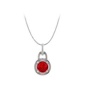 Marco B True Ruby and Diamonds Round Pendant in 14K White Gold