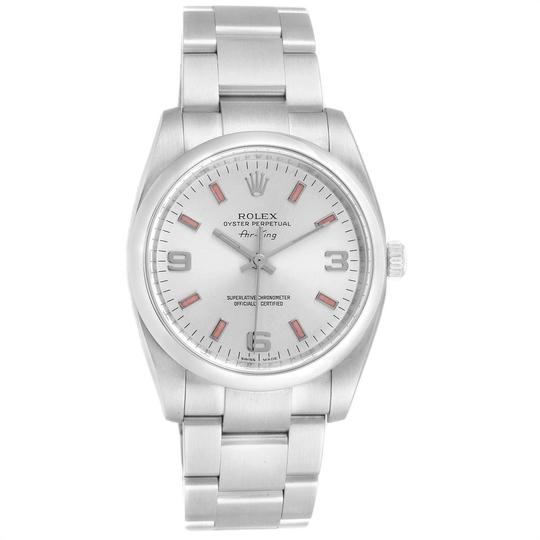 Rolex Rolex Air King Silver Dial Pink Index Hour Markers Steel Watch 114200 Image 1