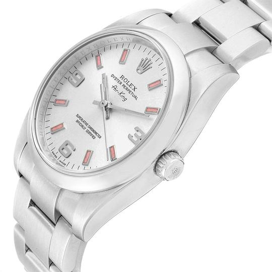 Rolex Rolex Air King Silver Dial Pink Index Hour Markers Steel Watch 114200 Image 4