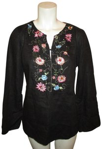ECI New York Beaded Sequined Linen Embroidered 001 Tunic