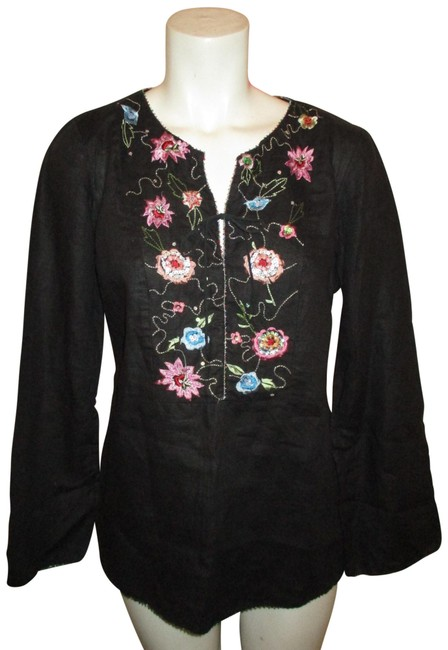 Preload https://img-static.tradesy.com/item/25129136/eci-new-york-black-multi-long-sleeve-embroidered-linen-tunic-size-4-s-0-1-650-650.jpg
