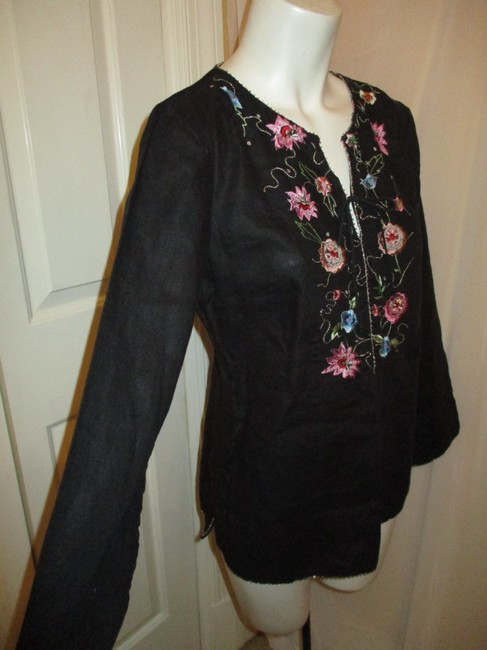 ECI New York Beaded Sequined Linen Embroidered 001 Tunic Image 2