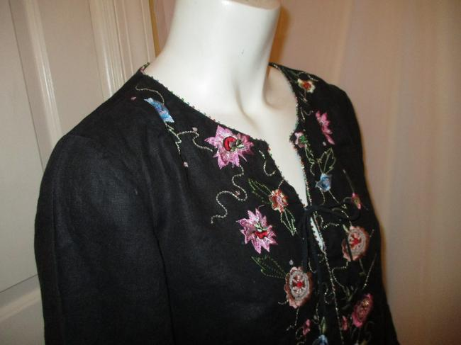 ECI New York Beaded Sequined Linen Embroidered 001 Tunic Image 3