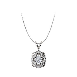 Marco B Artful Oval Cubic Zirconia Pendant Crafted in 14K Gold