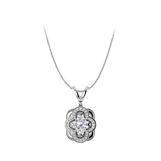 Preload https://img-static.tradesy.com/item/25129153/white-artful-oval-cubic-zirconia-pendant-crafted-in-14k-gold-necklace-0-0-540-540.jpg