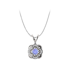 Marco B Natural Tanzanite and Diamond Accented Pendant in Gold