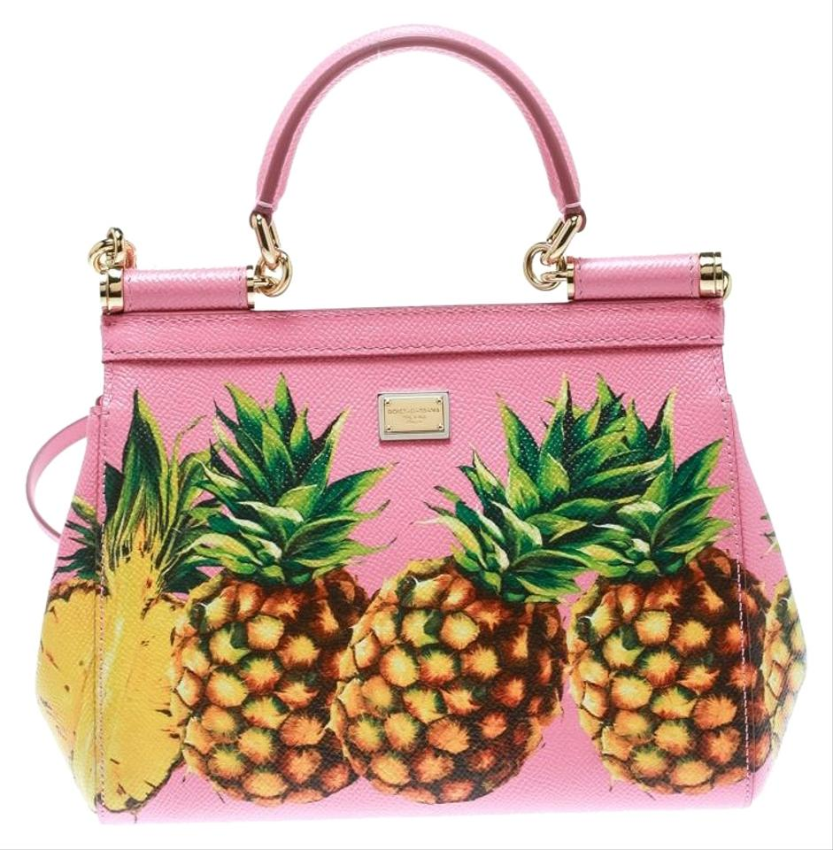 a8686743382 Dolce&Gabbana Pineapple Small Miss Sicily Top Handle Pink Leather ...