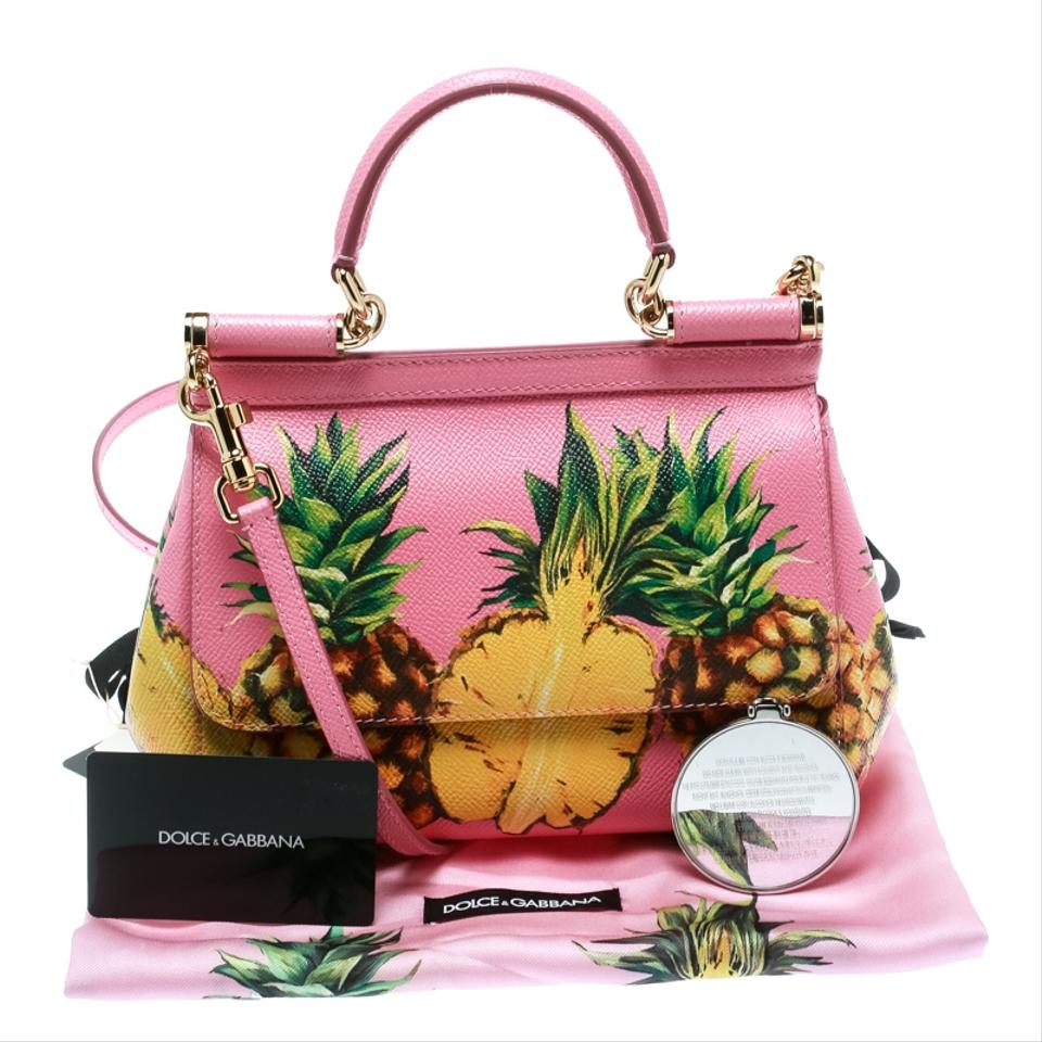 1f947674ea18a3 Dolce&Gabbana Pineapple Small Miss Sicily Top Handle Pink Leather ...