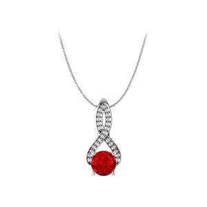 Marco B Ruby and Diamonds Infinity Pendant in 14K White Gold