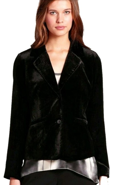 Eileen Fisher Plush Soft Velvet Welt Pockets Lined Silk Blend Dress Up Or Down Black Blazer Image 0