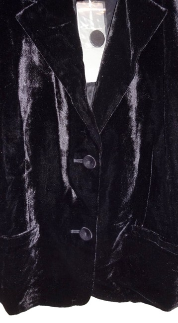 Eileen Fisher Plush Soft Velvet Welt Pockets Lined Silk Blend Dress Up Or Down Black Blazer Image 2