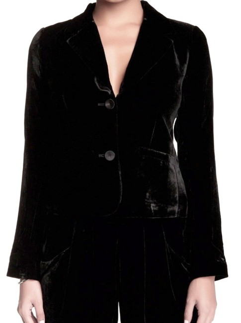 Eileen Fisher Plush Soft Velvet Welt Pockets Lined Silk Blend Dress Up Or Down Black Blazer Image 6
