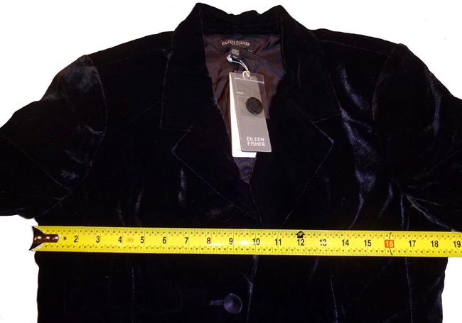 Eileen Fisher Plush Soft Velvet Welt Pockets Lined Silk Blend Dress Up Or Down Black Blazer Image 8