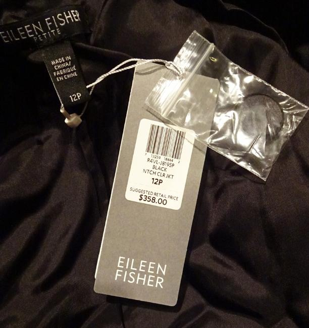 Eileen Fisher Plush Soft Velvet Welt Pockets Lined Silk Blend Dress Up Or Down Black Blazer Image 9