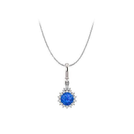 Preload https://img-static.tradesy.com/item/25129307/blue-royal-sapphire-diamonds-round-pendant-in-14k-white-gold-necklace-0-0-540-540.jpg