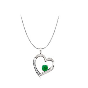 Marco B Natural Emerald Diamond Heart Pendant in 14K White Gold