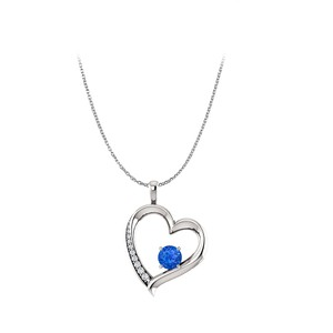 Marco B Sapphire Diamond Open Heart Pendant in 14K White Gold