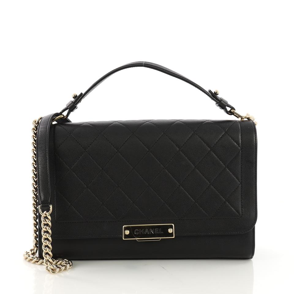 5f905d7e012ffb Chanel Classic Flap Label Click Quilted Calfskin Large Black Leather ...