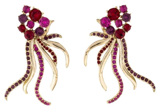 Item - Purple Pink Red Signed Gold Tone Crystal Earrings