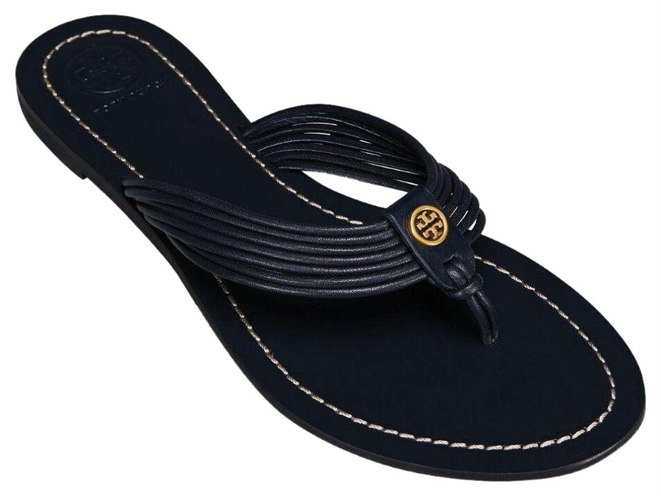 66e45bbc9 Tory Burch Blue Sienna Perfect Navy Glove Nappa Leather Reva Thong Sandals  Flats. Size  US 10 ...