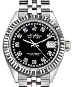 Rolex Rolex Silver and Black 36mm Datejust Wtih Diamond Dial Watch