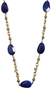 Stephen Dweck Blue Lapis Stone Necklace With Raw Polished Pyrite
