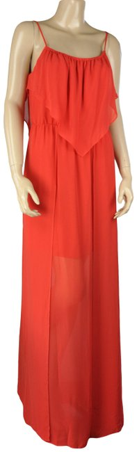 Item - Red Bcbg Sheer Ball Gown Prom Slit Maxi Long Formal Dress Size 6 (S)