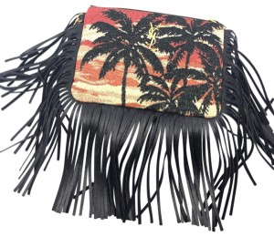 Saint Laurent Fringe Ysl Tropical Themed Leather Canvas Wristlet in black