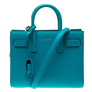 Saint Laurent Leather Suede Classic Tote in Blue